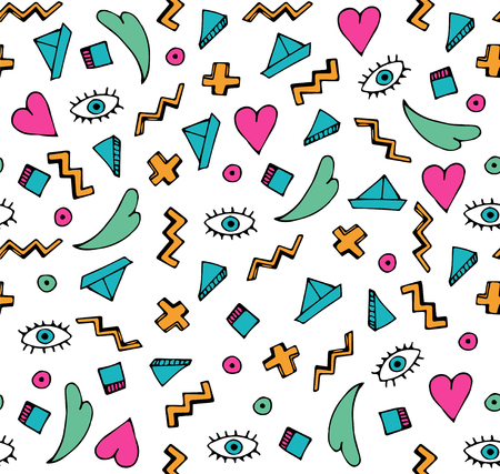 Illustration for Abstract colorful doodle seamless pattern. - Royalty Free Image