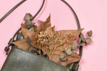 Foto de A leather handbag with dry leaves on a pink background - Imagen libre de derechos