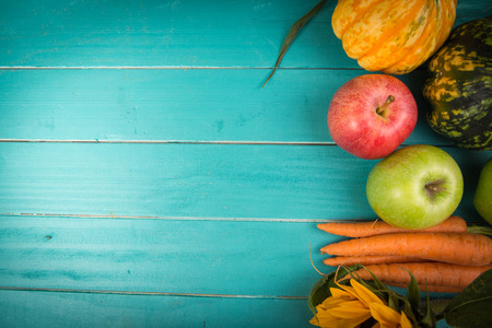 Photo for Farm fresh organic vegetables on rustic wooden blue table background - Royalty Free Image