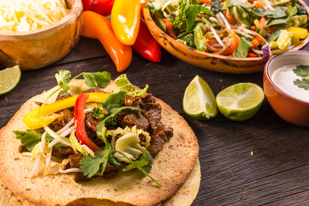 making typical latin street food, mexican taco