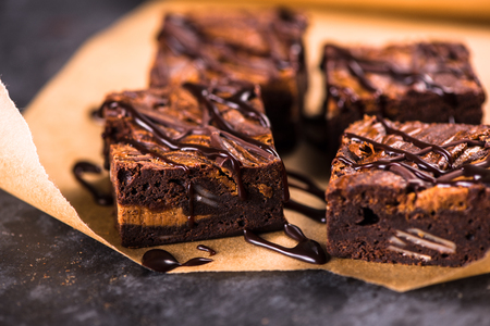 Photo for Homemade artisan dark chocolate brownies - Royalty Free Image