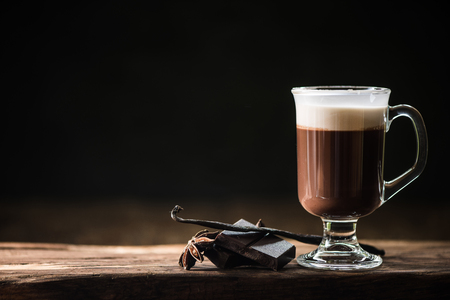 Photo for Irish coffee on dark background with space for menu - Royalty Free Image