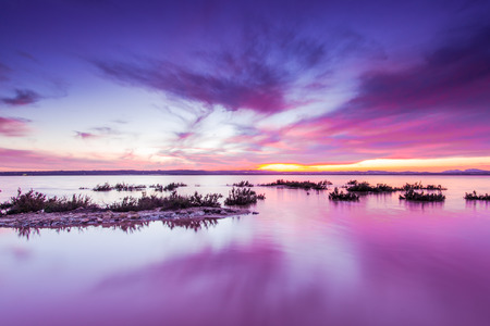 Foto de Laguna Salada in Torrevieja,Spain. Salted lake at sunset. Salinas Natural Park. - Imagen libre de derechos