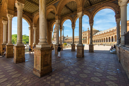 Photo for Sevilla, Spain - April , 2017: Plaza de Espana in Sevilla, most famous and beautiful touristic place to visit. - Royalty Free Image