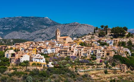 Foto de Polop village on hill top, Alicante,Spain. - Imagen libre de derechos