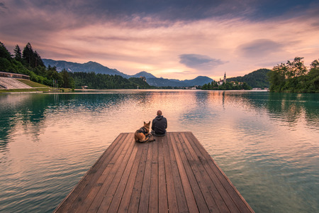 Photo for Man and dog sitting on wooden deck at Bled lake, Slovenia watching sunrise - Royalty Free Image