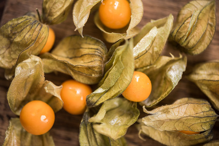 Photo for Physalis fruits close up view from above. - Royalty Free Image