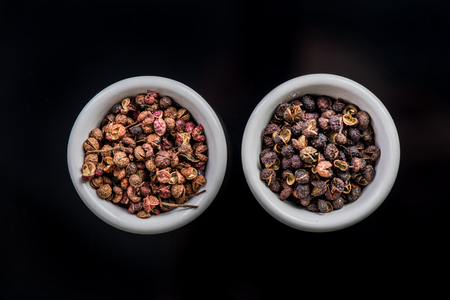 Photo for Nepalese Timut and Sichuan pepper in pots. - Royalty Free Image