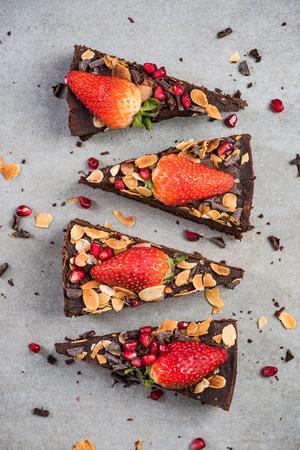 Photo pour Sweet chocolate brownie slices, top view. - image libre de droit