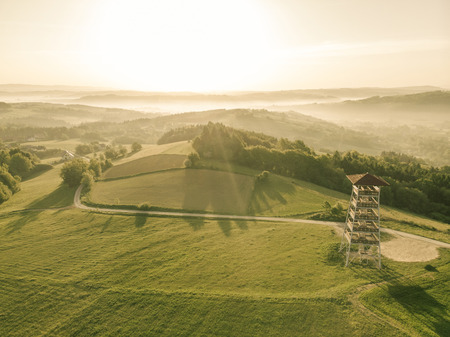 Photo for Beautiful aerial view over hills at sunrise. - Royalty Free Image