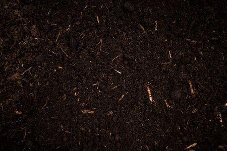 Photo pour Garden Soil , Dark Cultivated Turf Soil , Gardening and Farming Concept, Background. - image libre de droit