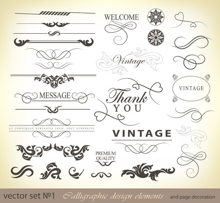 Illustration pour vector set  calligraphic design elements and page decoration - lots of useful elements to embellish your layout - image libre de droit
