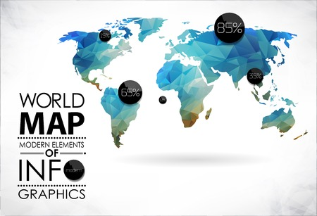 Illustration pour Modern elements of info graphics. World Map and typography - image libre de droit