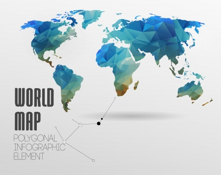 Photo pour Polygonal World Map and Information Graphics. World Map and typography - image libre de droit