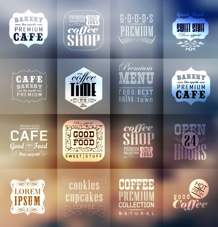 Illustration pour Retro bakery labels and typography. Blur, shadows background. Coffee shop, cafe, menu design elements, calligraphic - image libre de droit
