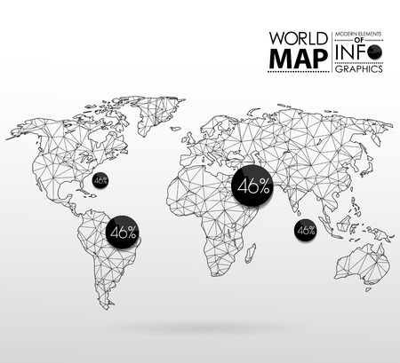 Illustration pour World map background in polygonal style. Modern elements of info graphics. World Map - image libre de droit