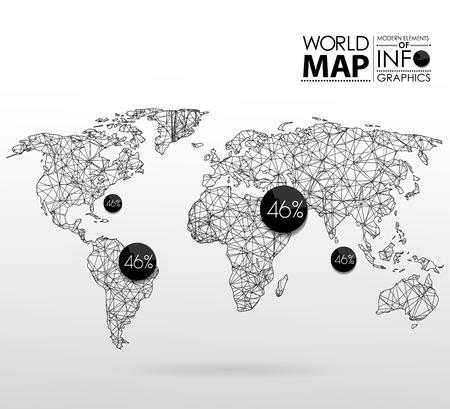 Ilustración de World map background in polygonal style. Modern elements of info graphics. World Map - Imagen libre de derechos
