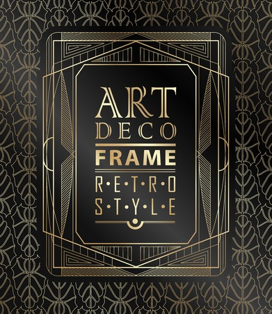 Illustration for Art deco geometric vintage frame can be used for invitation, congratulation - Royalty Free Image