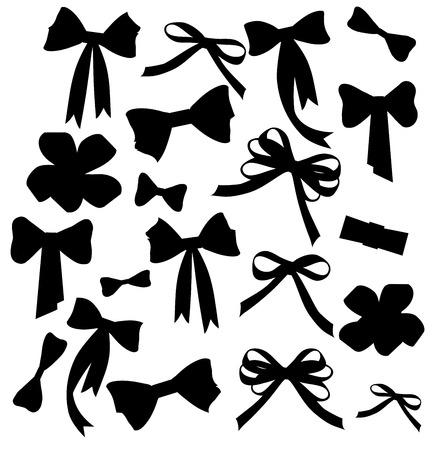 Illustration pour Black and white silhouette image of bow set Black and white silhouette image of bow set - image libre de droit