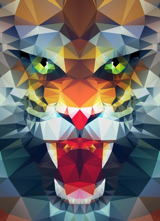 Illustration for Abstract polygonal tiger. Geometric hipster illustration. Polygonal poster - Royalty Free Image