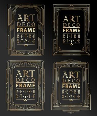 Illustration pour Art deco geometric vintage frame can be used for invitation, congratulation - image libre de droit