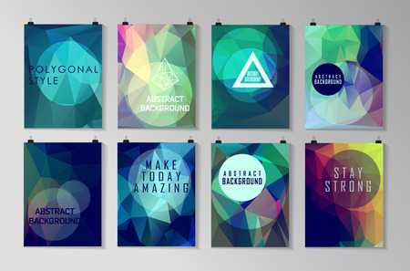 Ilustración de Set of poster, flyer, brochure design templates. Abstract modern polygonal backgrounds. - Imagen libre de derechos