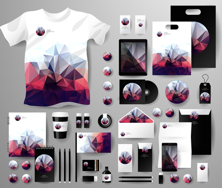 Ilustración de Abstract  business set in polygonal style. Corporate identity templates, notebook, card, flag, T-shirt, disk, package,  label, envelope, pen, Tablet PC, Mobile Phone, matches, ink, pencil, paper cup, forms, folders for documents, invitation card - Imagen libre de derechos