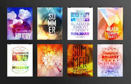 Ilustración de Set of poster, flyer, brochure design templates.. Elements for Summer Holidays with colorful background. Calligraphic designs and ornaments - Imagen libre de derechos