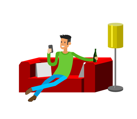 Illustration pour Man resting at home. Laying on sofa. Man Laying on sofa and drinking beer. Man resting at home and looking in smartphone. Man resting at home on sofa - image libre de droit