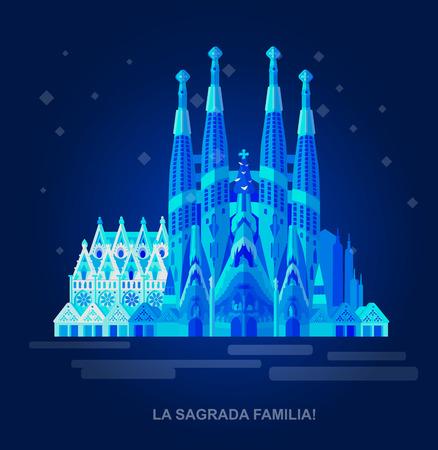 Ilustración de High quality, detailed most famous World landmark. Vector illustration of La Sagrada Familia. Travel vector. Travel illustration. Travel landmarks - Imagen libre de derechos