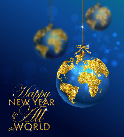 Illustration pour Glitter christmas ball with world map. Greeting Card with typography and gold world globe. Merry Christmas concept. Background with golden calligraphic elements - image libre de droit