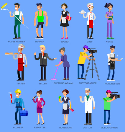 Illustration pour Profession people. Detailed character professionals . Illustration of character Profession people. Vector flat Profession people - image libre de droit