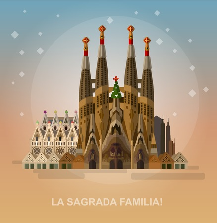 Ilustración de High quality, detailed most famous World landmark. Vector illustration of La Sagrada Familia - the impressive cathedral designed by Gaudi. Travel vector. Travel illustration. Travel landmarks - Imagen libre de derechos