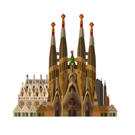 Ilustración de High quality, detailed most famous World landmark. Vector illustration of La Sagrada Familia - the impressive cathedral designed by Gaudi. Travel vector - Imagen libre de derechos