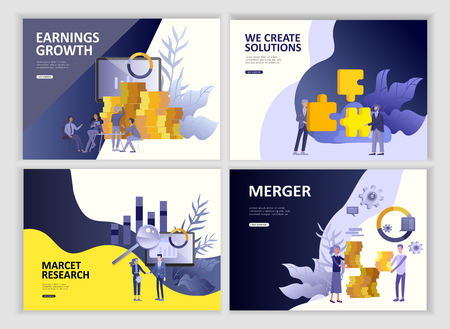 Illustration pour Set Landing page template people business app, marcet research, merger, focus group research and earnings growth, start up and solution. Vector illustration concept website mobile development - image libre de droit
