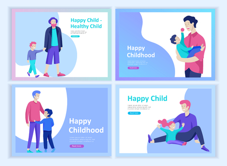 Ilustración de Set of Landing page template or greeting card. Friend celebrates Merry Christmas and Happy New Year. Character family buying gift, with purchases, makes snowman. Christmas tree on urban park landscape - Imagen libre de derechos