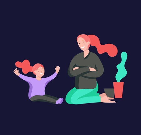 Illustrazione per Vector people character. Mother and daughter spending time together. Colorful flat concept illustration. - Immagini Royalty Free