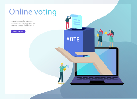 Illustration pour Voting and Election concept. Pre-election campaign. Promotion and advertising of candidate. Citizens debating candidate. Online voting and election concept with people. - image libre de droit