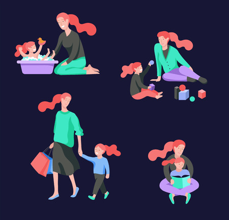 Illustrazione per Vector people character. Mother and daughter spending time together, read a book and play, bathe the baby, walk and shopping. Colorful flat concept illustration. - Immagini Royalty Free