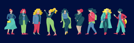 Illustrazione per Plus size women dressed in stylish clothing. Set of curvy girls wearing trendy clothes. Happy Female cartoon characters. Bodypositive concept illustration - Immagini Royalty Free