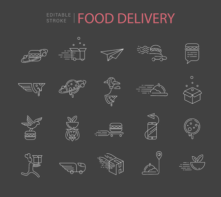 Illustration pour Vector icon and logo for food online deliwery. Editable outline stroke size. Line flat contour, thin and linear design. Simple icons. Concept illustration. Sign, symbol, element. - image libre de droit