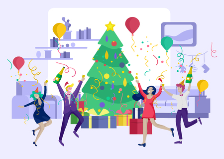 Ilustración de card winter Holidays corporate Party. Merry Christmas and Happy New Year Website with People Characters. Company of young friends or colleagues celebrates - Imagen libre de derechos