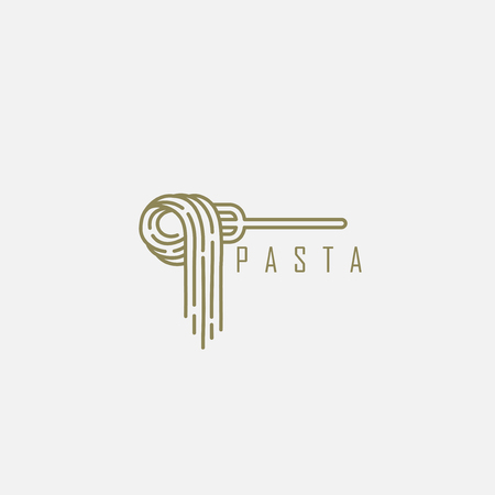 Illustrazione per Vector icon and logo for italian pasta or noodles. Editable outline stroke size. Line flat contour, thin and linear design. Simple icons. Concept illustration. Sign, symbol, element. - Immagini Royalty Free