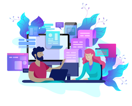Ilustración de Concept Landing page template customer service, male hotline operator advises client, online global technical support, customer and operator - Imagen libre de derechos