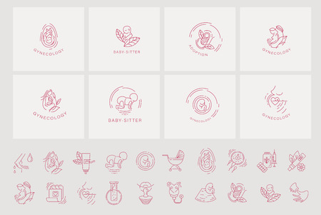 Ilustración de Vector icon and logo for pegnancy and gynecology. Editable outline stroke size. Line flat contour, thin and linear design for adoption and babysitter. Simple icons. Concept illustration. Sign, symbol, element. - Imagen libre de derechos