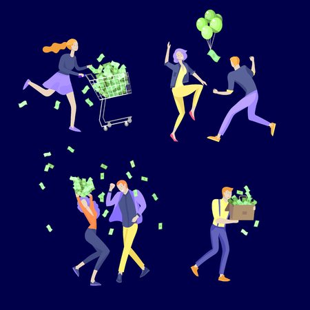 Happy people characters in move celebrating victory. Business team standing under money rain, run with profit, catch bills. Cartoon style, flat vector illustration