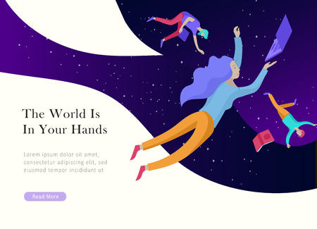 Ilustración de landing page template. Inspired People flying. Create your own spase. Character moving and floating in dreams, imagination and freedom inspiration design work. Flat design style - Imagen libre de derechos