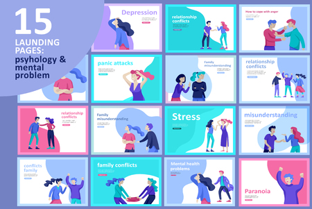 Ilustración de Vector people in bad emotions, character in conflict, angry or tired and in stress. Aggressive people yell at each other. Colorful flat concept illustration. - Imagen libre de derechos