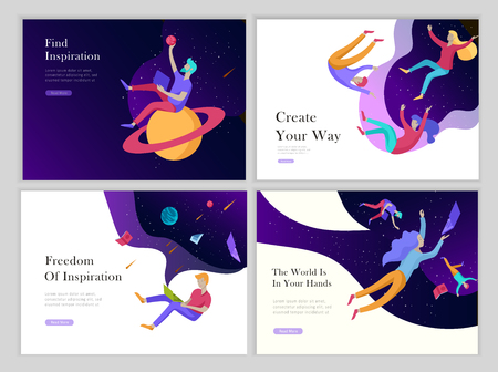Illustration pour landing page templates set. Inspired People flying. Create your own spase. Characters moving and floating in dreams, imagination and freedom inspiration design work. Flat design style - image libre de droit