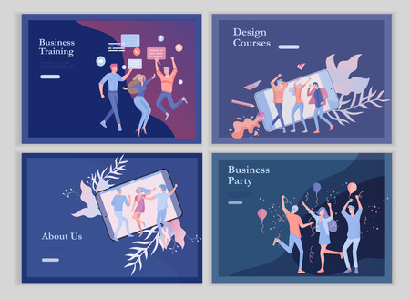 Illustration pour landing page templates set with team People moving. Business invitation and corporate party, design training courses, about us, expert team, happy teamwork. Flat characters design illustration - image libre de droit